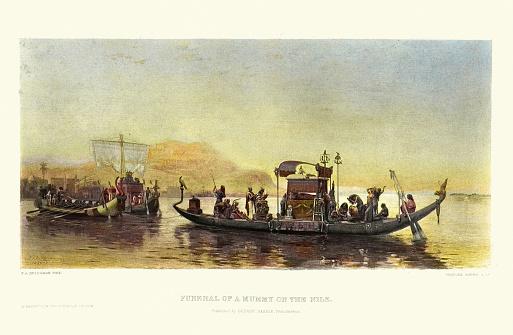 Vintage illustration after Frederick Arthur Bridgman, Funeral of a Mummy on the Nile