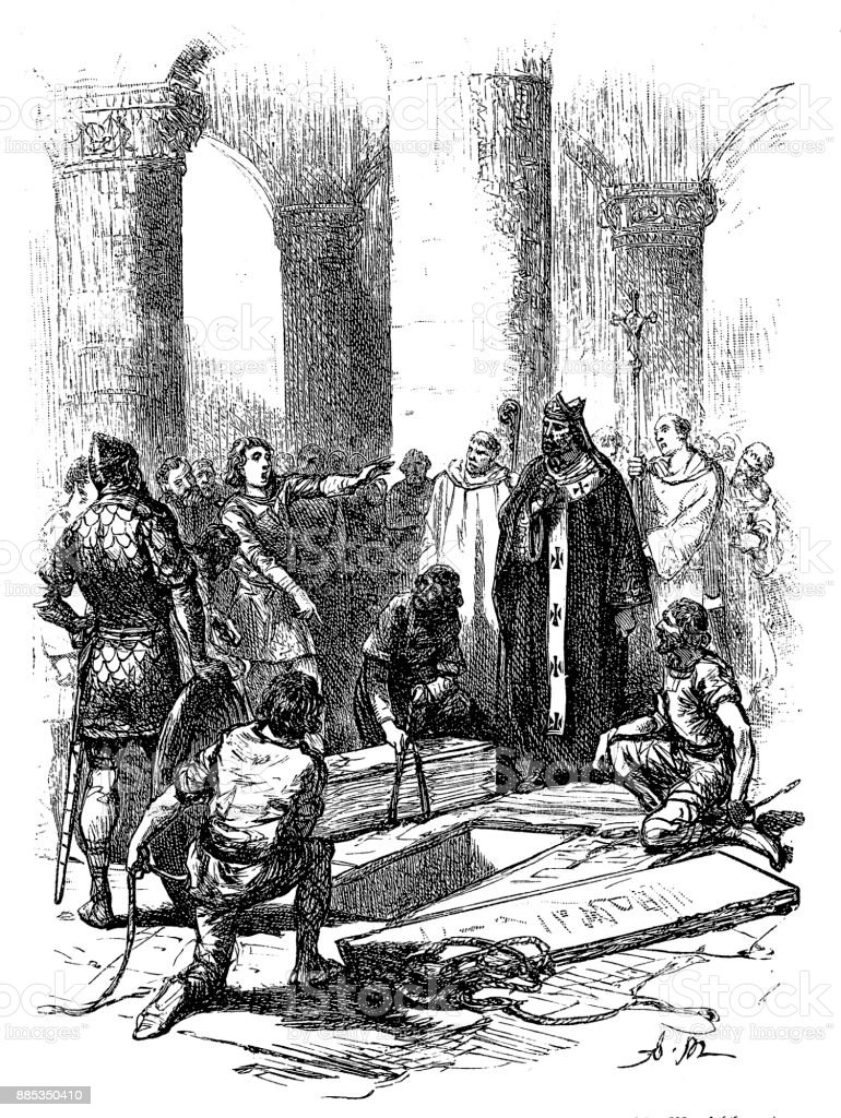 Funeral of William the Conqueror at Caen, engraving, England illustration of a Funeral of William the Conqueror at Caen, engraving, England Adult stock illustration