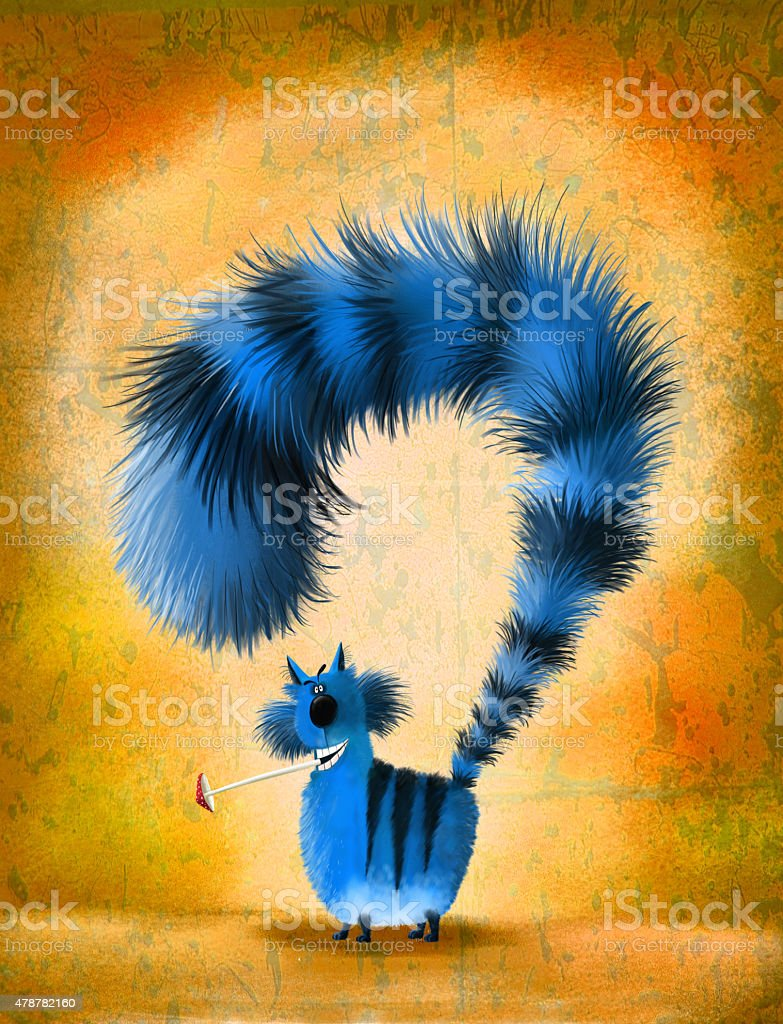 Funky Blue Cat with Mushroom in Mouth vector art illustration