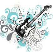 Hand drawn guitar with funky elements.  Every element is a separate object. More works like this in my portfolio.