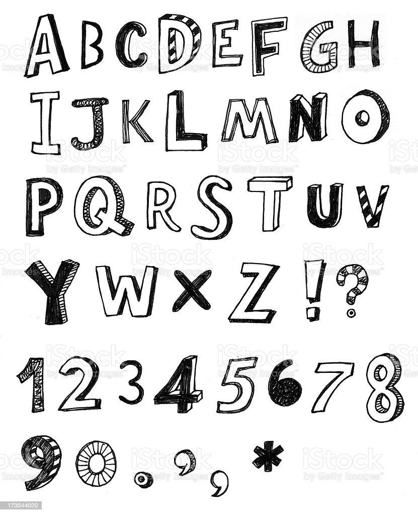 Funky gemischte alphabet – Vektorgrafik