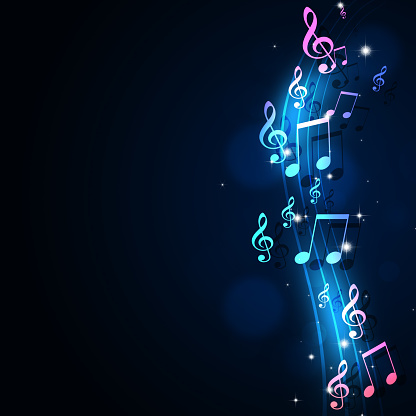 Funky Music Notes Blue Background Stock Illustration ...