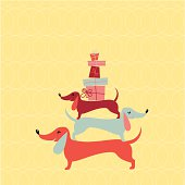 Badger dogs pyramid with gift boxes. Happy birthday Greeting Card.