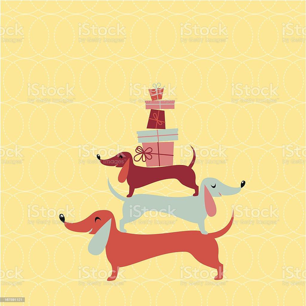 Funny badger dogs vector art illustration