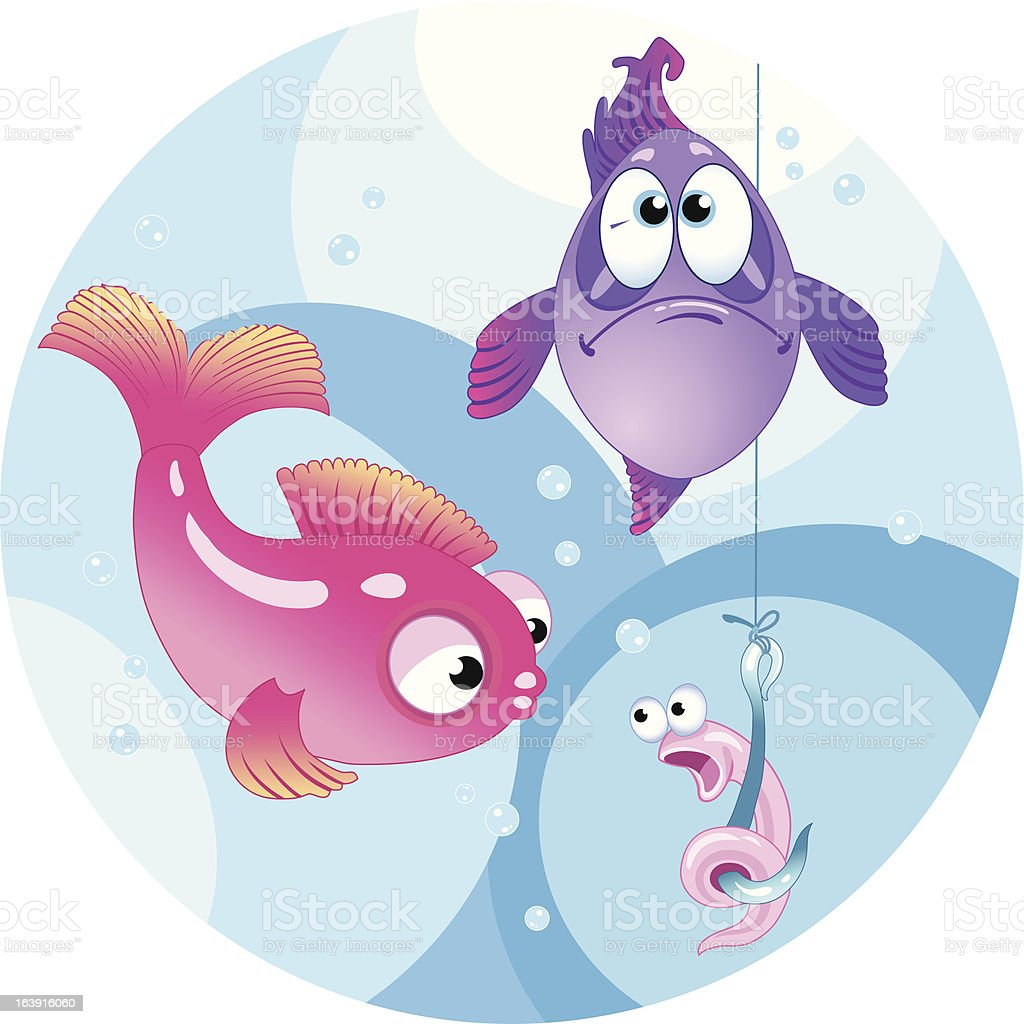 Funny bait for fishing royalty-free stock vector art