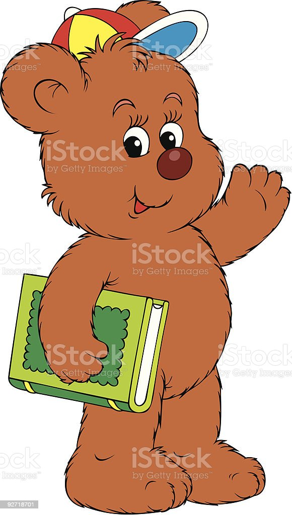 Funny Bear holding the green book vector art illustration