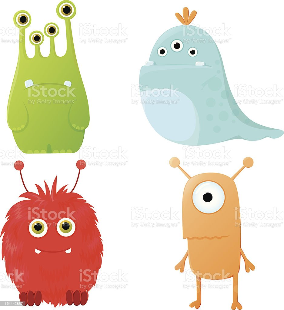 Funny cartoon monsters vector art illustration
