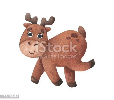 istock Funny deer running. Watercolor illustration with an animal in a cartoon style. Brown fawn with horns isolated on a white background. Children's fun print for clothes, tableware, office supplies, postcards 1284457494