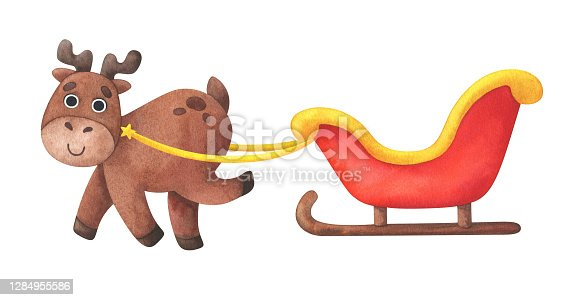istock Funny deer runs with a red Christmas sleigh. Watercolor illustration with an animal in a cartoon style. Christmas deer isolated on a white background. Children's fun print for the new year 1284955586