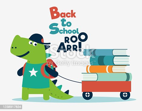 istock Funny dinosaur with wagon cart and books 1238917834
