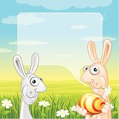 Funny Easter Rabits with Colored Egg