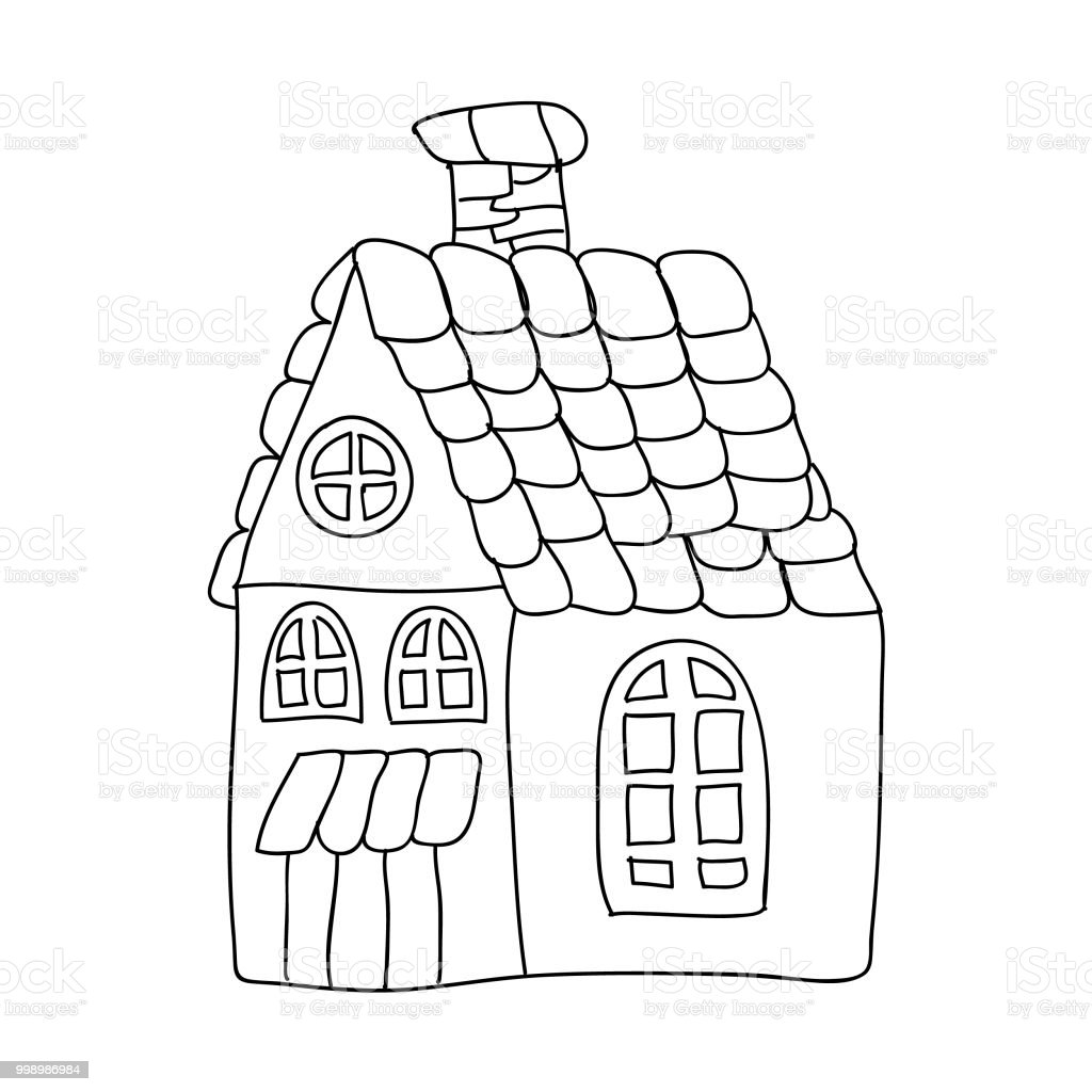 Funny Fairy Tale House Children Coloring Page Isolated On White ...