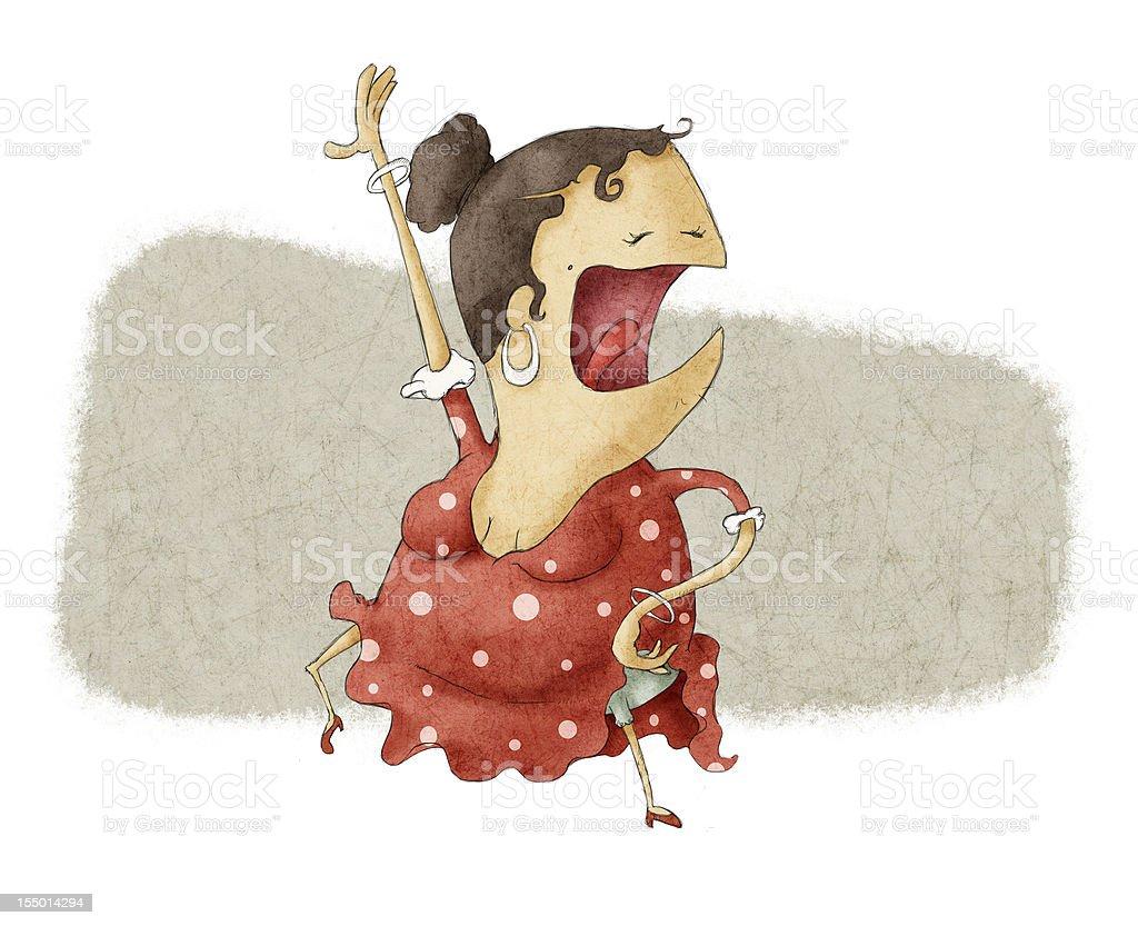 funny flamenco dancing and singing vector art illustration