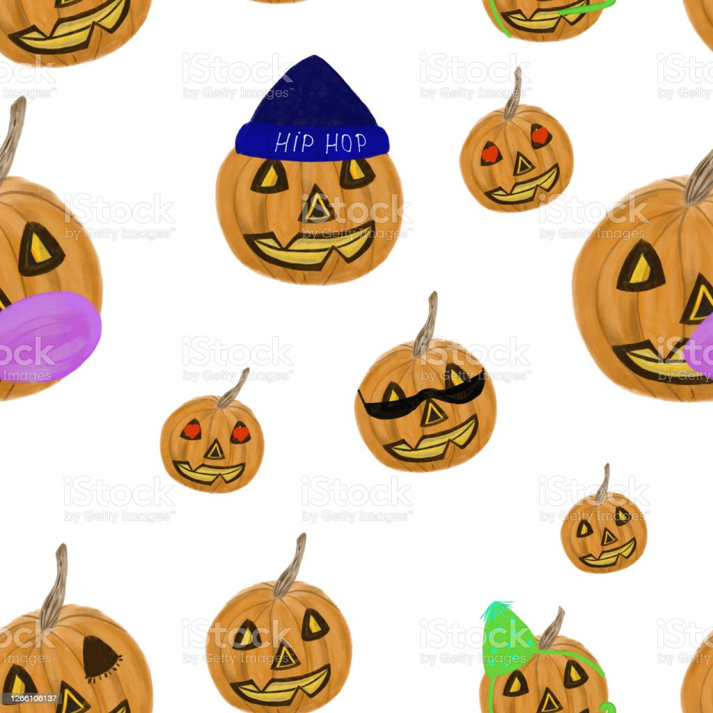 Halloween Pumpkin Accessories.Funny Halloween Pumpkins In Accessories On White Background Halloween Seamless Pattern Print Packaging Wallpaper Textile Kids Stationery Design Stock Illustration Download Image Now Istock