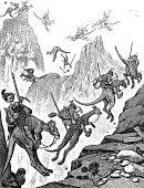 Funny illustration. Explorers on kangaroos conquer a mountain peak - 1896
