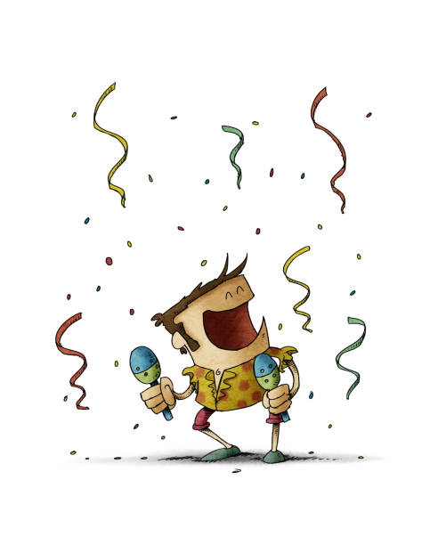 Funny illustration of a man dancing and playing the maracas. Celebration concept. isolated vector art illustration