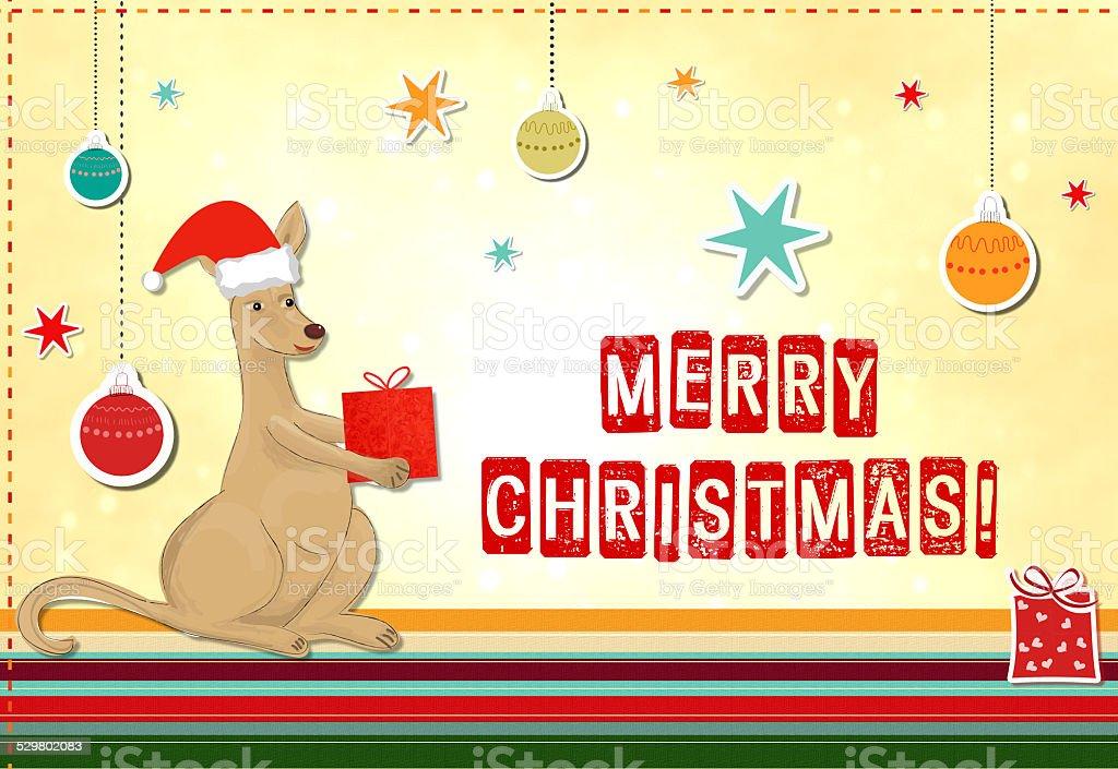 funny kangaroo celebrating christmas vector art illustration