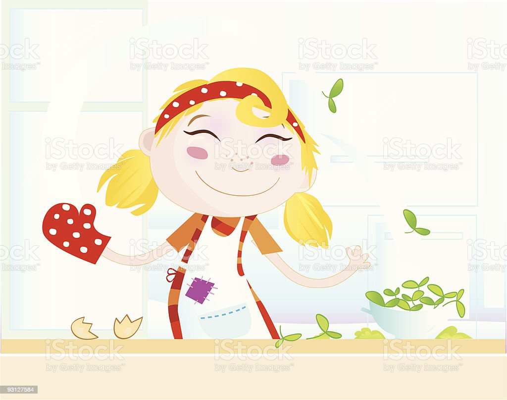 Funny kitchen girl is cooking healthy food royalty-free stock vector art