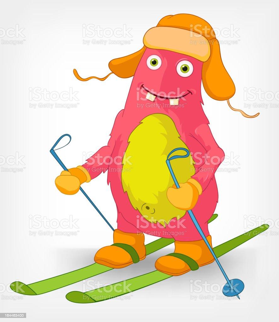 Lustige Monster Skifahren Stock Vektor Art Und Mehr Bilder Von