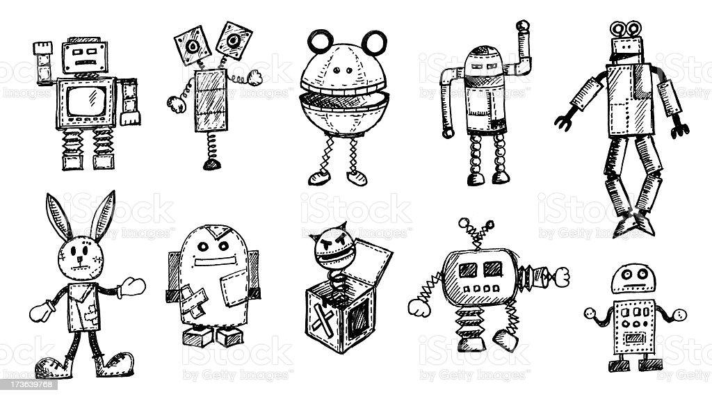 Seltsame Roboter Gekritzel – Vektorgrafik
