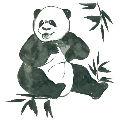 funny smiling sitting  ink panda with bamboo branches