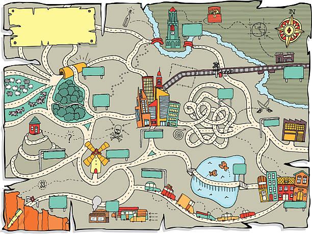 ilustrações, clipart, desenhos animados e ícones de engraçado mapa do tesouro - mapas de tesouro