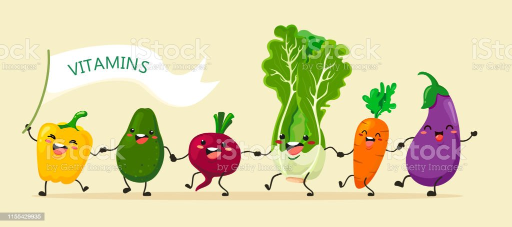 Funny vegetables go hand in hand after each other. Vector vegetable...