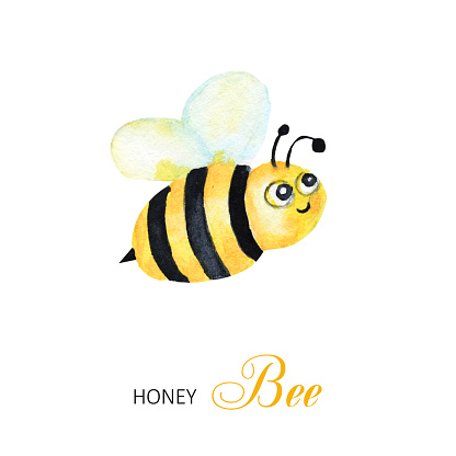 Funny watercolor, bright cartoon insects. Wasp, bee, bumblebee. Greeting card with text. Isolated on white background