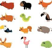 """12 vector funny wild animals - grizzly bear, gorilla, kangaroo, ox, snake, vulture, bald eagle, squirrel, boar, reindeer, flamingo, frog."""