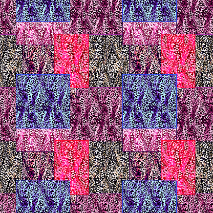 Fur abstract patchwork seamless pattern.