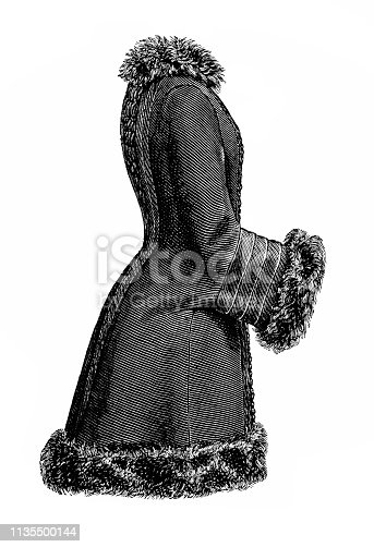 Illustration of a Fur coat ,Victorian fashion