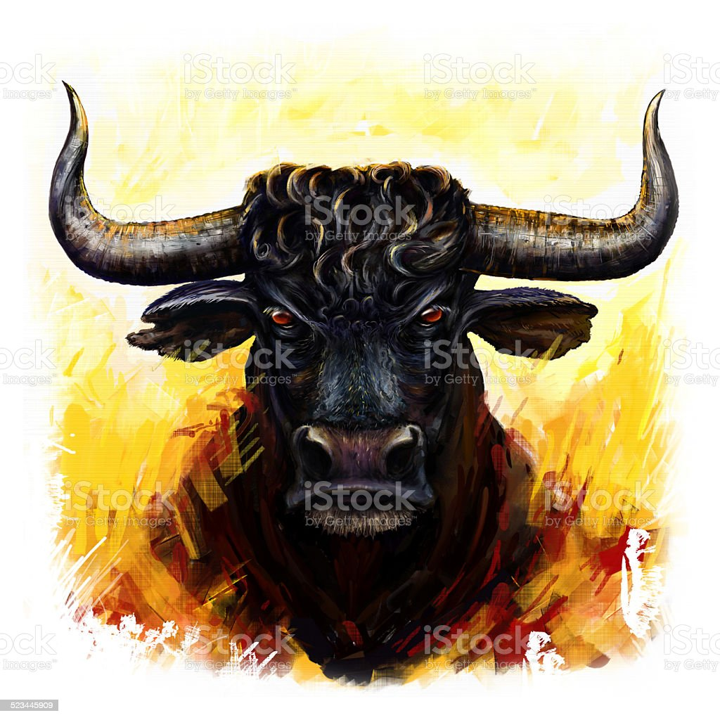 furious bull vector art illustration