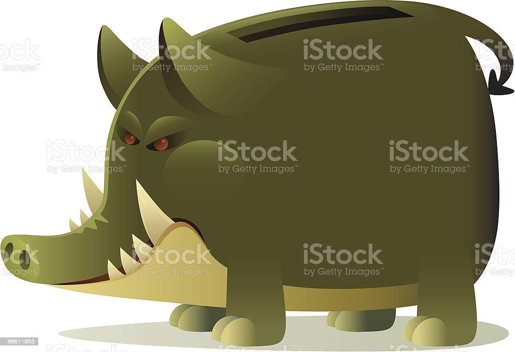 Разъярённый Свинья-копилка - Векторная графика Банковское дело роялти-фри