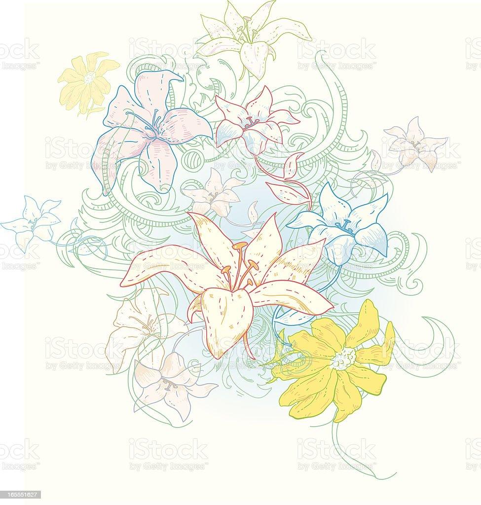 Furiously Floral vector art illustration