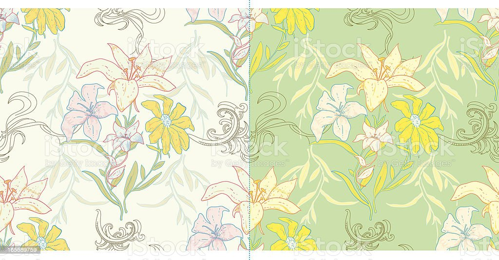 Furiously Floral Tiles vector art illustration