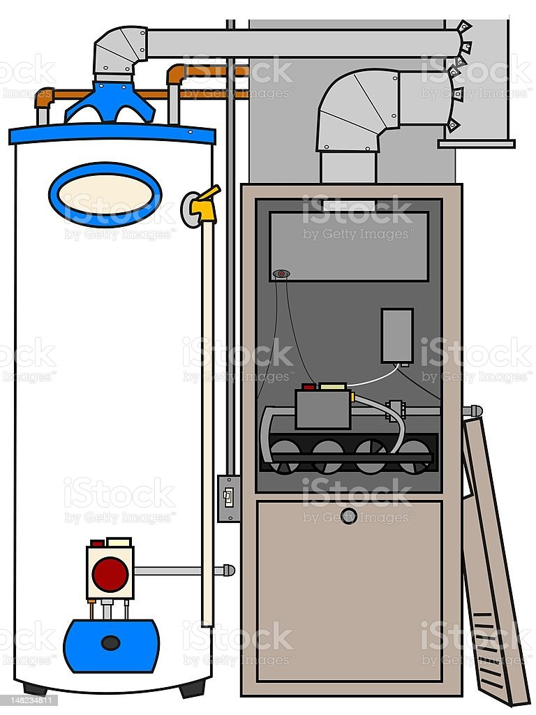 Water Heating Furnace ~ Furnace and water heater stock vector art more images of