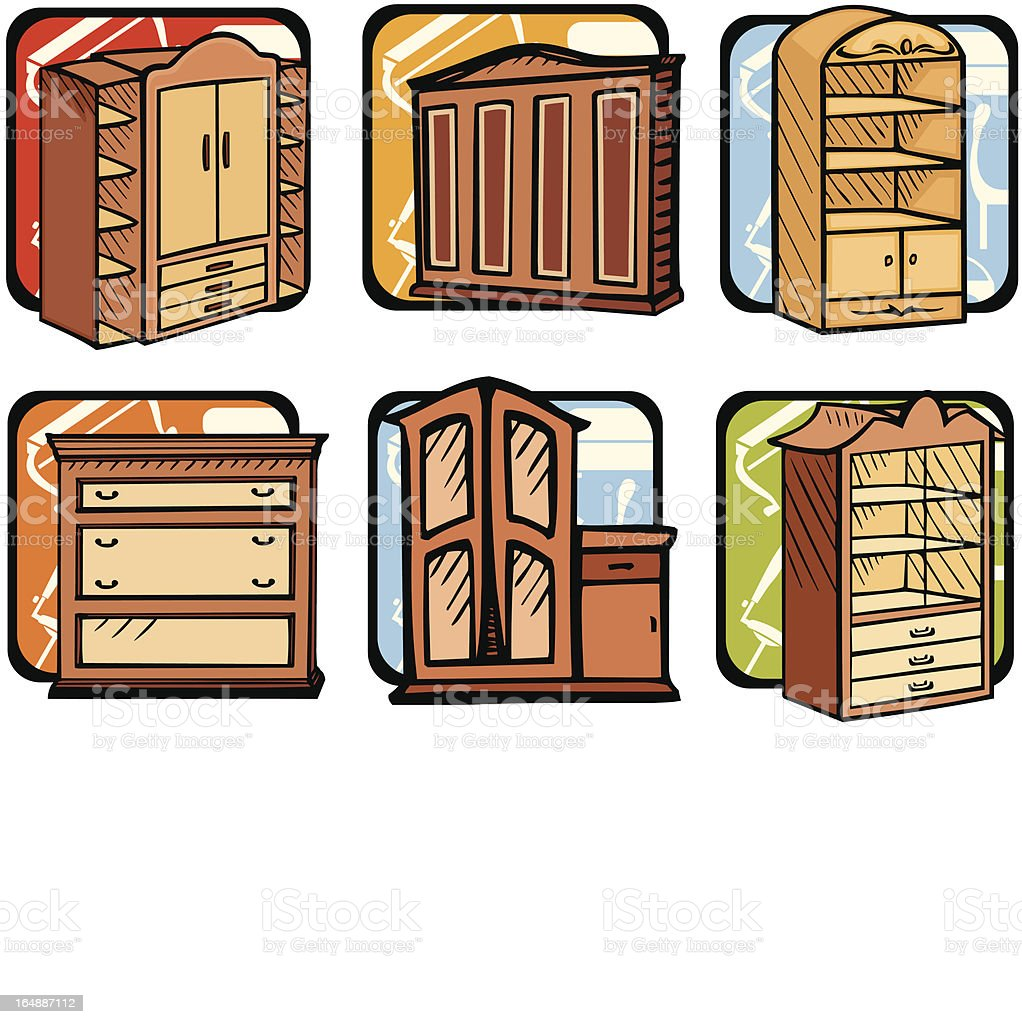 Furniture  Illustrations VII: Wardrobes (Vector) royalty-free stock vector art