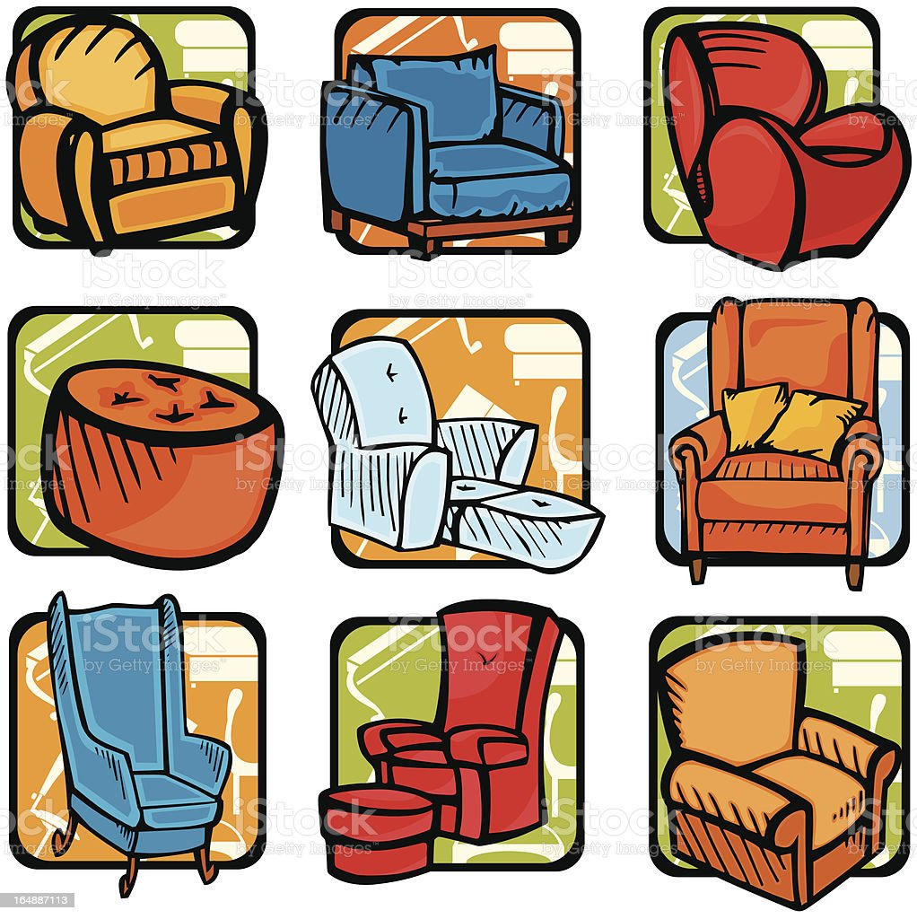Furniture  Illustrations X: Couches I (Vector) royalty-free stock vector art
