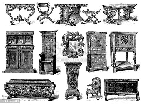 istock Furniture, Rococo, Renaissance, Gothic and Louis XV Style 914466984