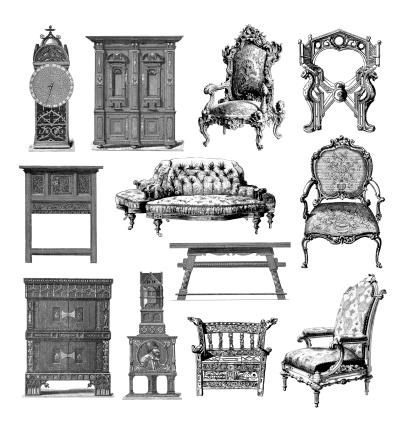 Furniture Set | Vintage Style and Design Illustrations