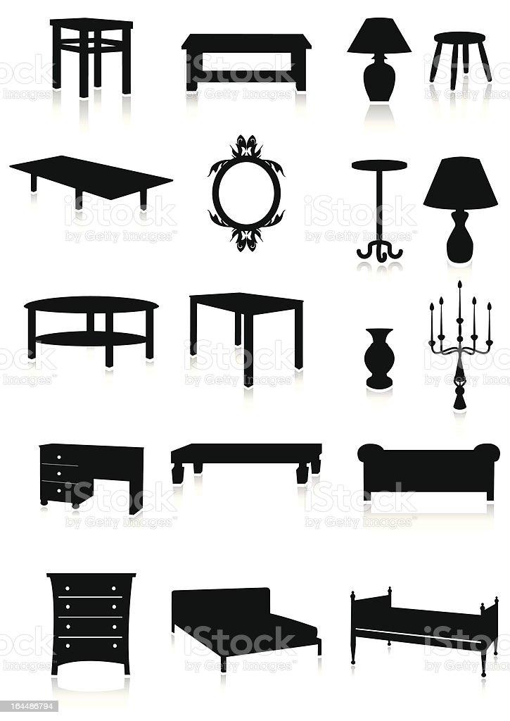 Ilustración de Conjunto De Silueta Los Muebles y más banco de ...