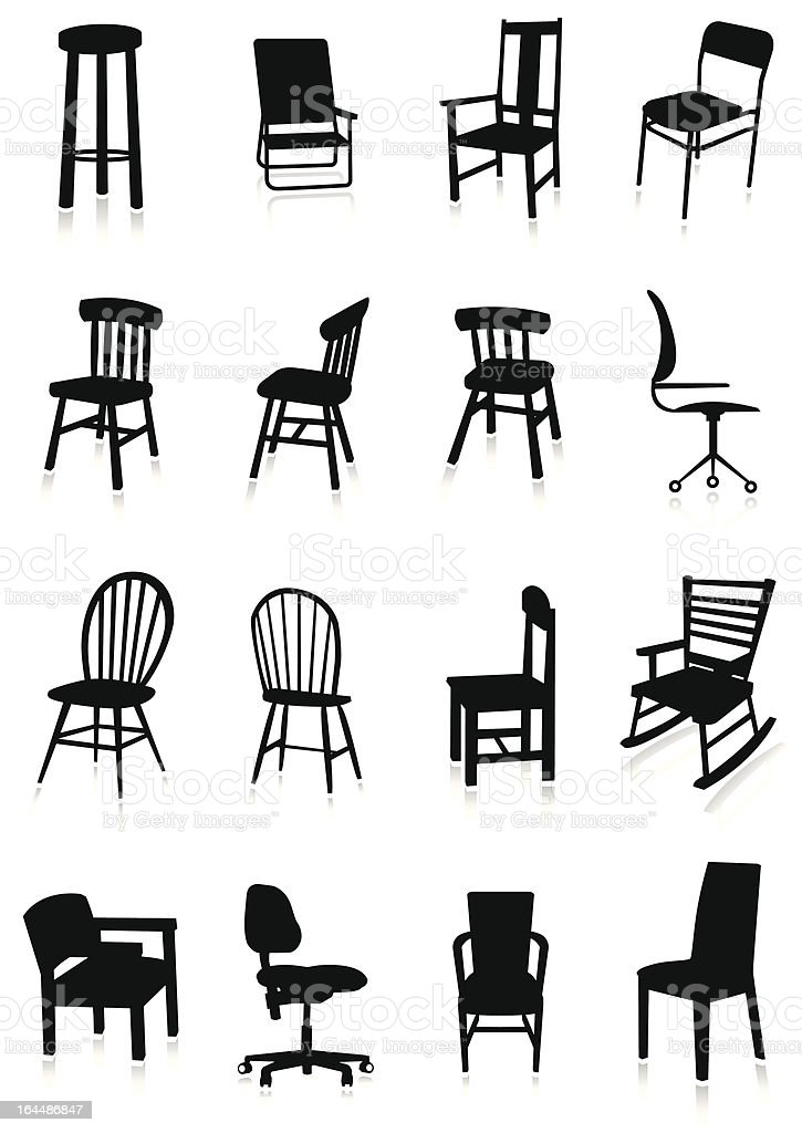 Furniture silhouette set royalty-free stock vector art