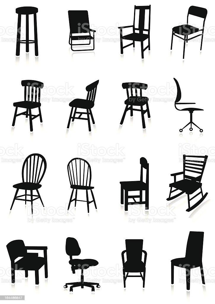 Furniture silhouette set vector art illustration