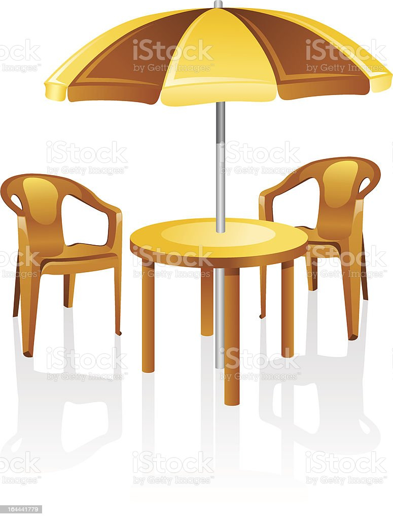 Furniture: table, chair, parasol. vector art illustration