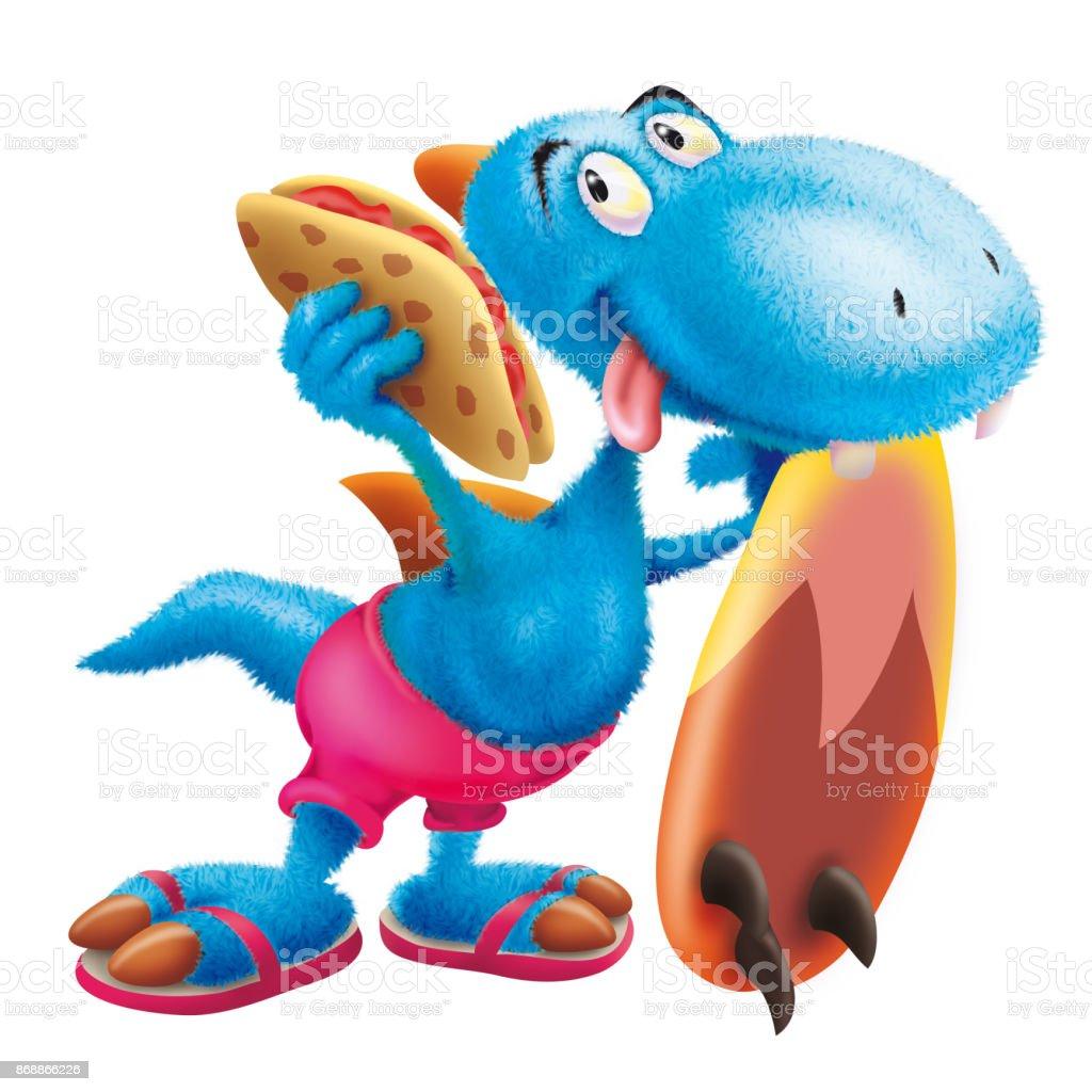 Furry dinosaur the surfer vector art illustration