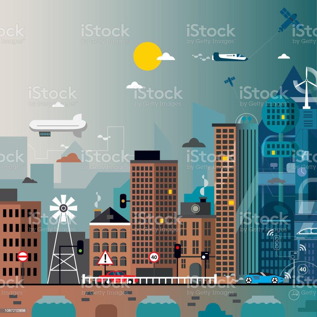 Future City vector art illustration