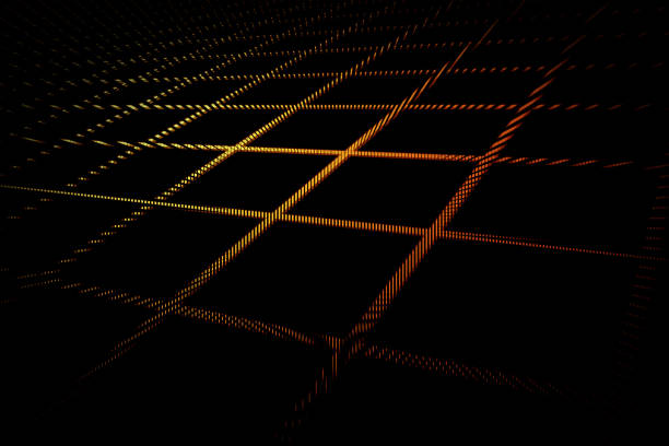 Futuristic 3D grid pattern in yellow red colors on black background vector art illustration