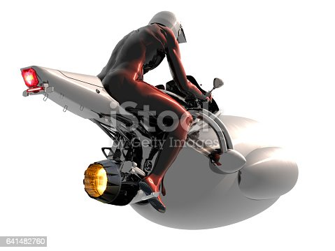 Futuristic motorcycle and pilot is flying with new generation jet technology in the future.