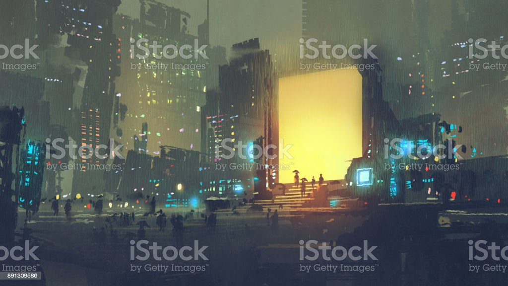 futuristic city with many people in teleport station vector art illustration