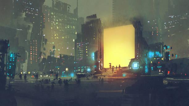 bildbanksillustrationer, clip art samt tecknat material och ikoner med futuristisk stad med många människor i teleport station - future city